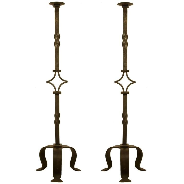Monumental Pair of Wrought Iron Candle Stands