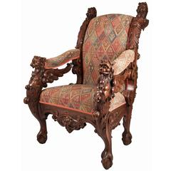 19th Century German Carved Mahogany Throne Chair