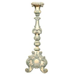 18th Century Italian Rococo Single Carved Candlestick, Painted with Blue Accents