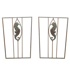 Pair of Art Deco Iron and Copper Gates with Seahorses
