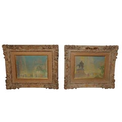 Small Pair of Oil on Canvas Paintings by Johann Berthelsen Signed L.R