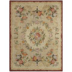 Large Vintage American Hooked Rug with Delightfully Elegant Floral Design