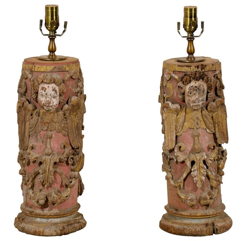 Pair of Portuguese 18th Century Painted Wood Table Lamps with Angel Depiction For Sale