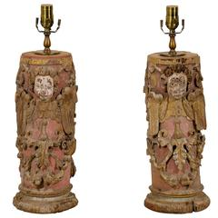 Pair of Portuguese 18th Century Painted Wood Table Lamps with Angel Depiction