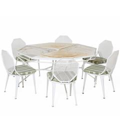 Vintage White Patio Table and Six Chairs with Upholstered Seat Cushions