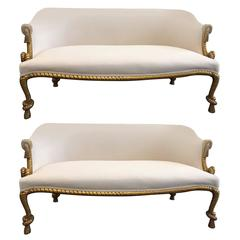 Two Rope and Tasseled Gilded Sofas