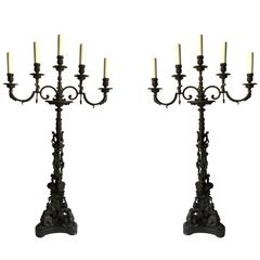 Pair of Large Five Arms, Ornate Candelabra