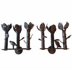 Diego Giacometti Rare Bronze Sconces