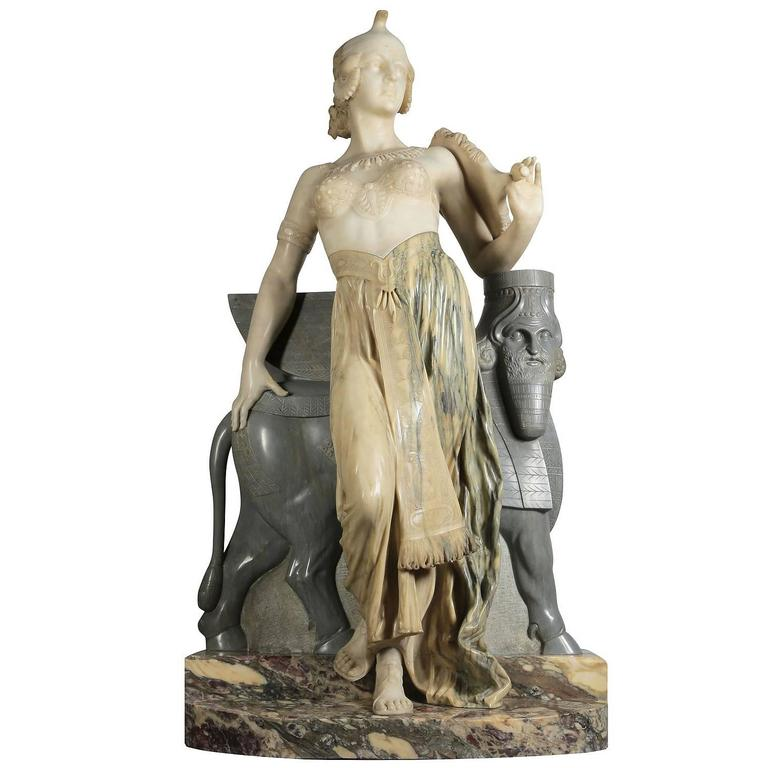 Lifesize Italian 19th Century Marble Figure of Cleopatra by Eliseo Fattorini For Sale
