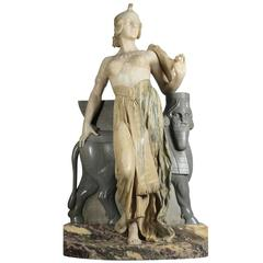 Lifesize Italian 19th Century Marble Figure of Cleopatra by Eliseo Fattorini