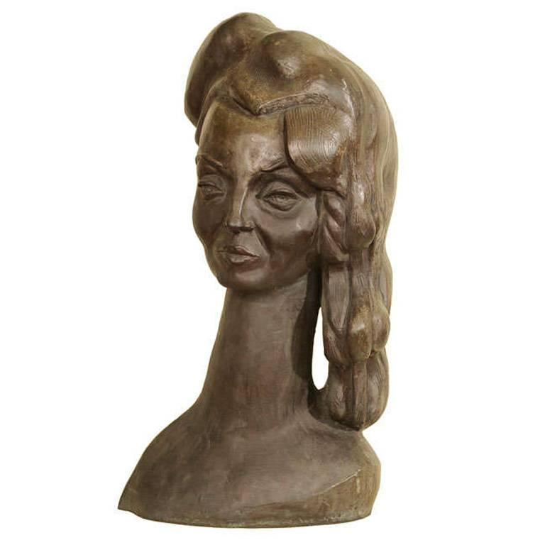 Bronze Bust of a Woman Signed E. Nay For Sale