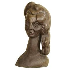 Bronze Bust of a Woman Signed E. Nay