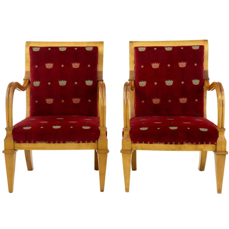Pair of 19th Century Swedish Birch Armchairs For Sale