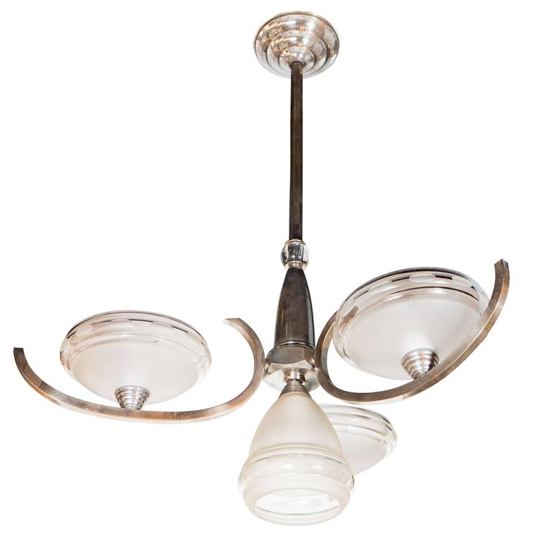 Art Deco Machine Age Skyscraper Style Chandelier with Frosted Glass Globes