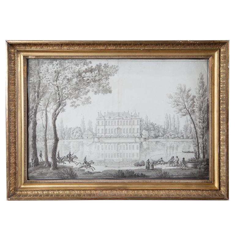 Pencil Drawing of a Chateau in a Landscape For Sale