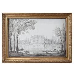 Pencil Drawing of a Chateau in a Landscape