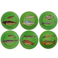 Set of Six Green Fish Dessert Plates by Italian Workshop Este Ceramiche