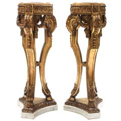 Pair of Louis XVI Style Carved Giltwood Tripod Pedestals