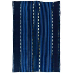 Vintage Strip Weave Indigo Cloth from West Africa