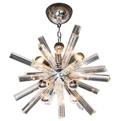 Mid-Century Modern Sputnik Chrome Chandelier with Murano Triedre Rods by Camer