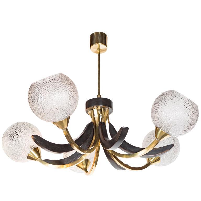 Mid-Century Modernist Five Globe Chandelier in Brass and ...