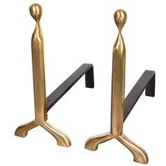 """Custom Pair of Mid-Century Modernist Style """"Jerome"""" Andirons in Brushed Brass"""