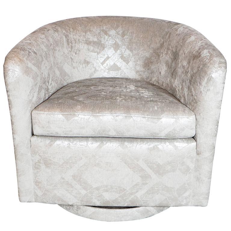 Milo Baughman Swivel Chair in Embossed Pearl and Metallic Platinum Velvet