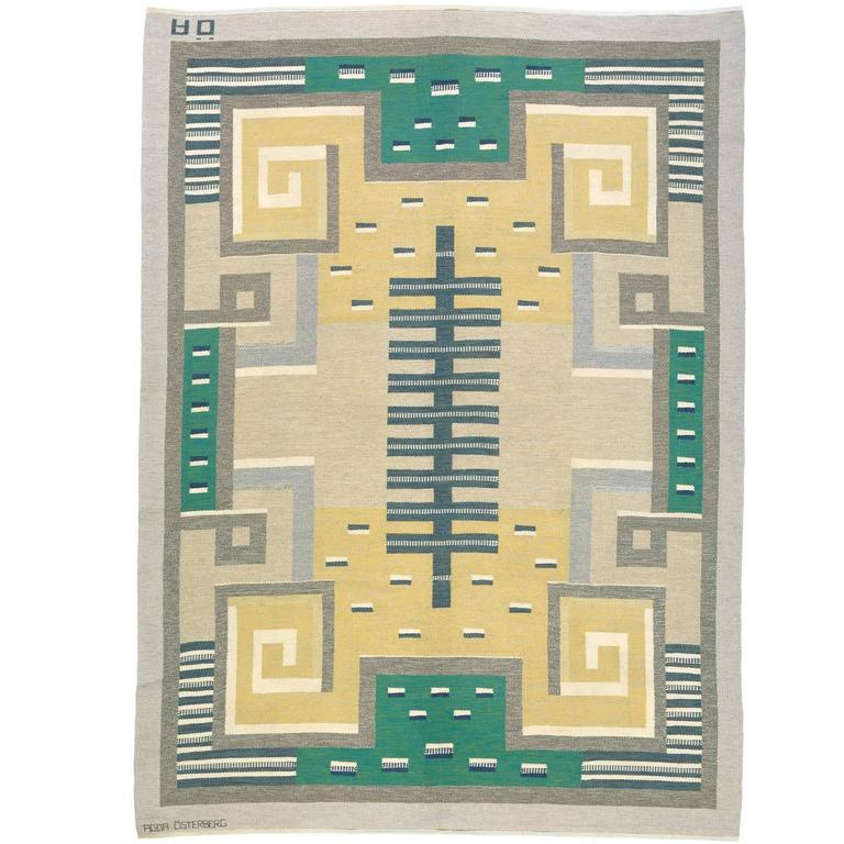 20th Century Swedish Flat-Weave Carpet by Agda Osterberg For Sale
