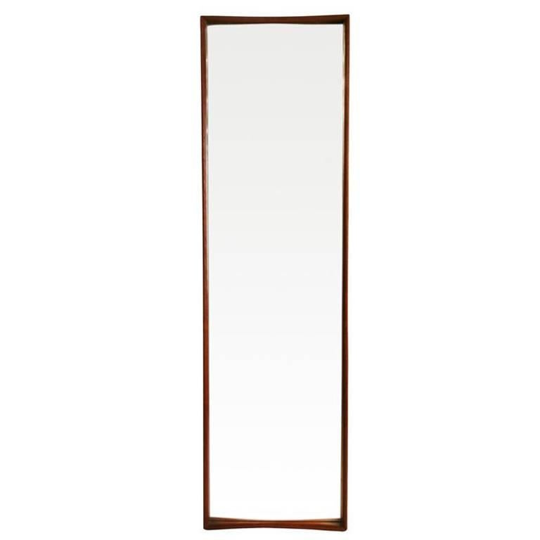 Swedish Tall Teak Framed Entry Mirror by AB Glas and Trä