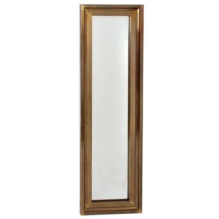 Tall Thin Brass Frame Entry Mirror by Mastercraft