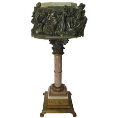 Renaissance Style High Relief Cast Bronze and Marble Table Stand, Italy