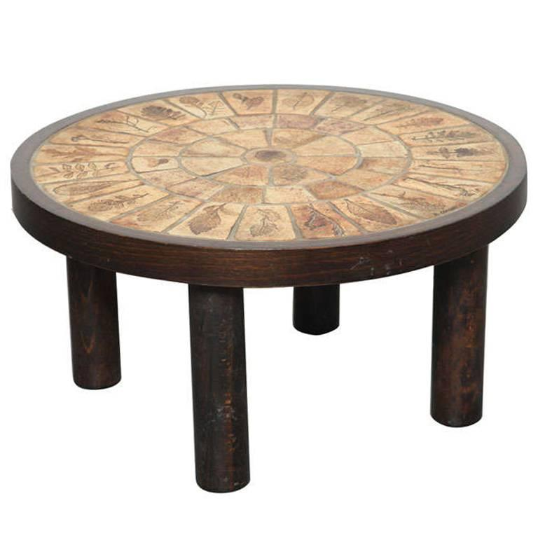 """Coffee Table by Roger Capron with """"Garrigue"""" Tiles For Sale"""