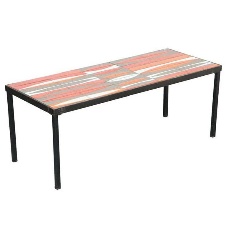 "Roger Capron Coffee Table with ""Navette"" Tiles For Sale"