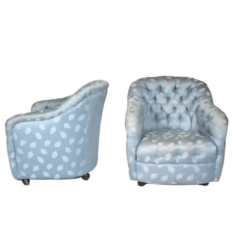 Pair of Button Tufted Barrel Chairs on Casters by Ward Bennett