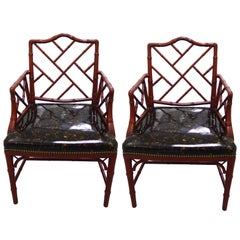 Red Faux Bamboo with Faux Tortoise Armchairs, Pair
