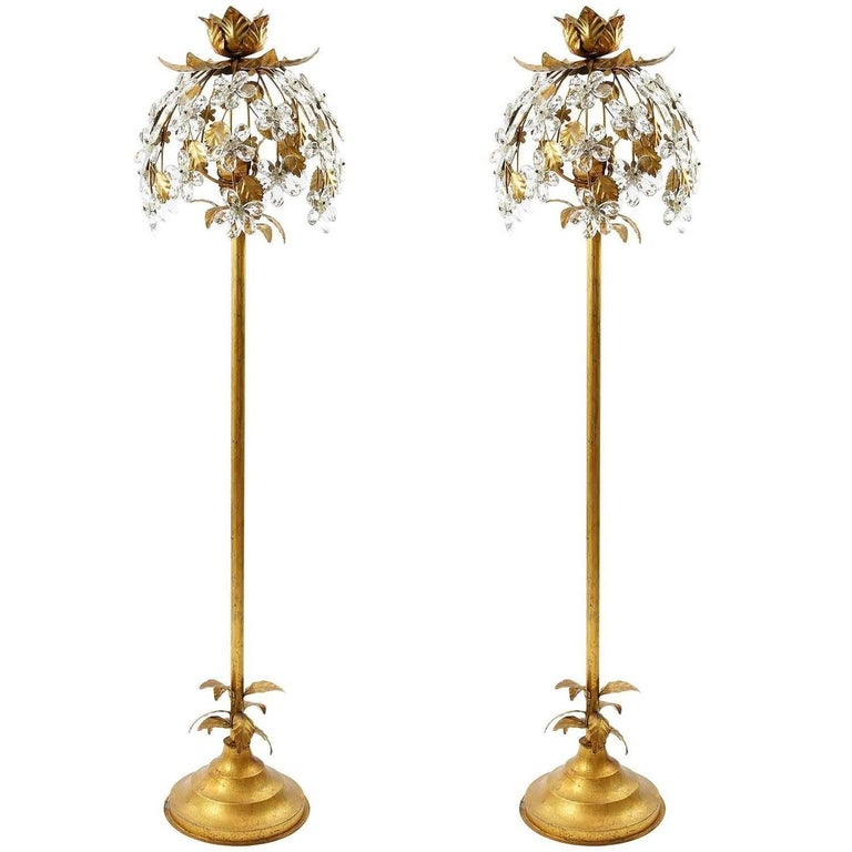 Pair of Gilt Italian Floor Lamps, 1960s