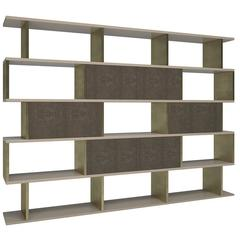 In and Out Bookshelf in Leather, Lacquer and Brass by Cristina Jorge de Carvalho