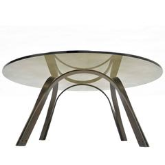 Trimark Bronze Sculptural Round Glass Coffee Table After Roger Sprunger Dunbar