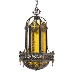Gothic Iron Pendant with Amber Bent Glass Panels and Floral Details