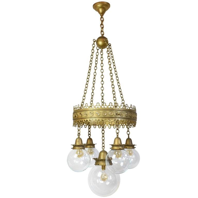 Ornate Iron Ring Chandelier: Gothic Pendant Fixture With Decorative Ring And Original