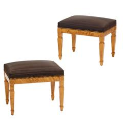 Pair of Art Nouveau Benches in Birch by Gustaf Ferdinand Boberg