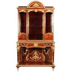 Palatial Louis XVI Style Ormolu Mounted Kingwood and Vernis Martin Style Vitrine