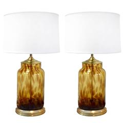Pair of Tortoise Glass and Brass Lamps