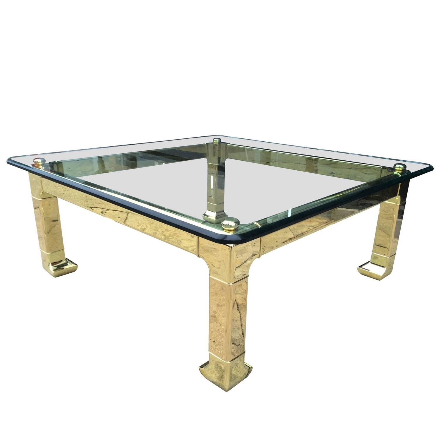 Solid Polished Brass Coffee Table By Mastercraft For Sale