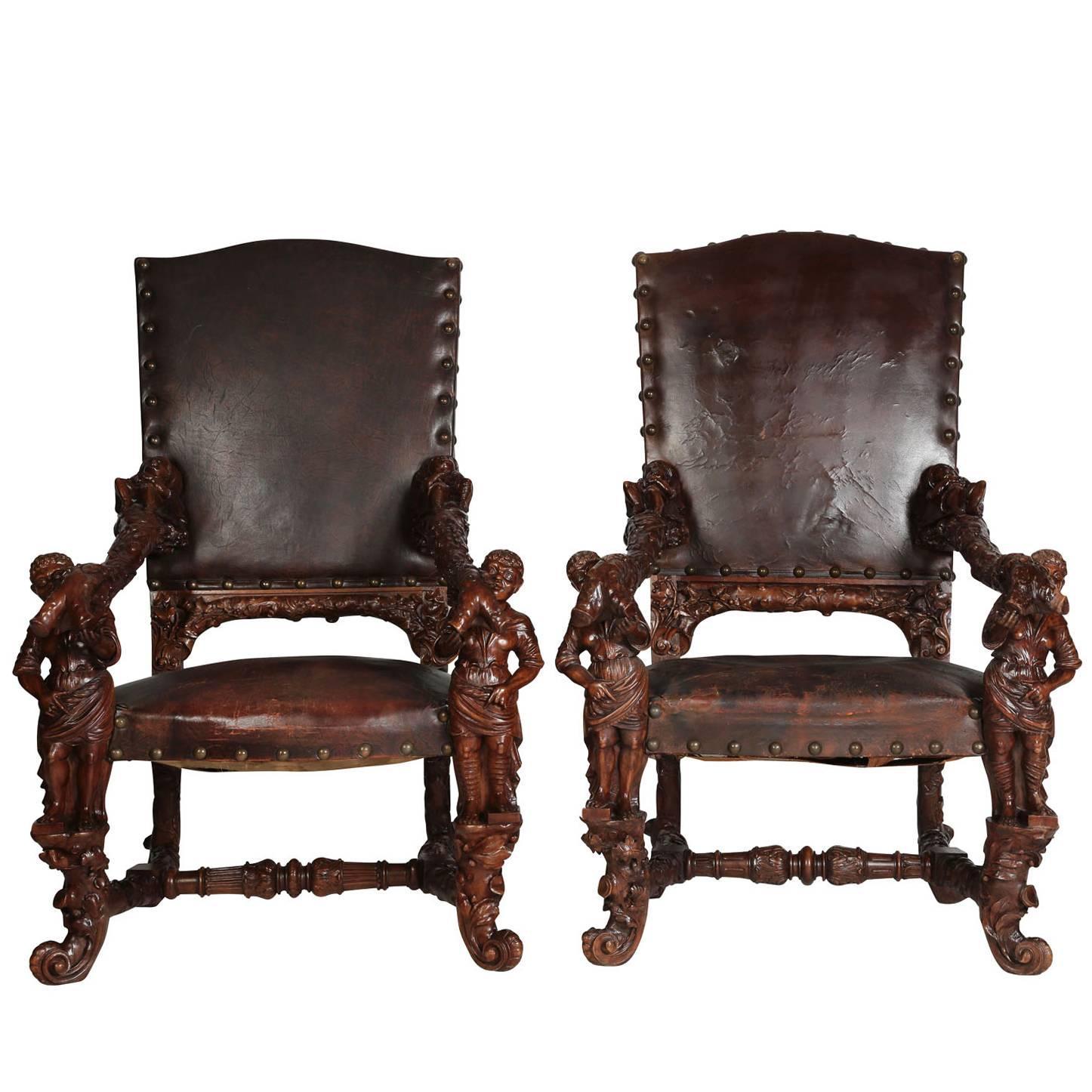 Pair of Palatial Venetian Walnut Carved Mid-19th Century Baroque Figural Thrones