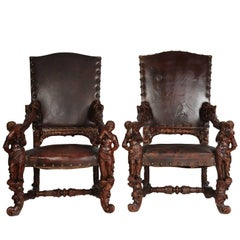 Pair of Palatial Venetian Walnut Carved Mid-19th Century Baroque Figural Thrones