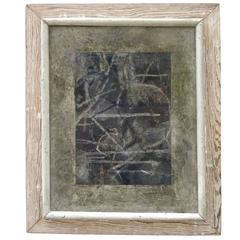 Charming 1940s Abstract Oil Painting in Original Distressed Frame