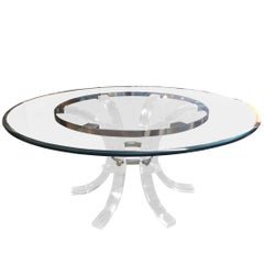 "Charles Hollis Jones ""Arched"" Dining Table in Lucite & Chrome, Seats Eight"