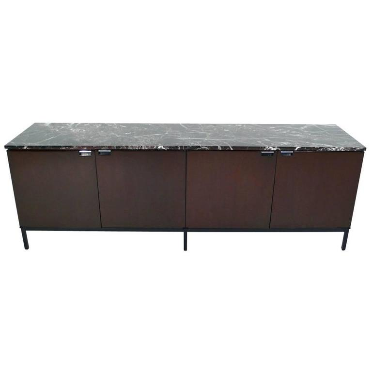 Florence Knoll Italian Marble Credenza mahogany 1960s For Sale