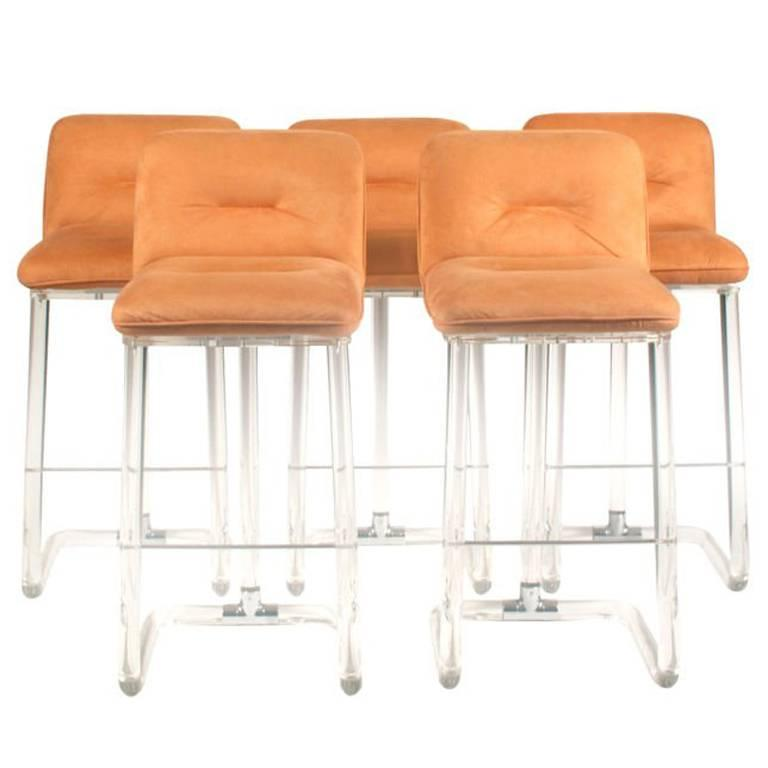 Set of Five Lucite Bar Stools by Leon Frost of Lion in Frost Inc